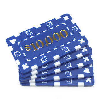 5 Denominated Poker Plaques Blue $10,000