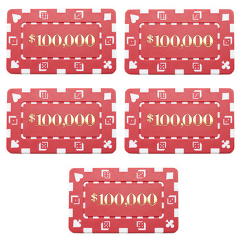 5 Denominated Poker Plaques Red $100,000