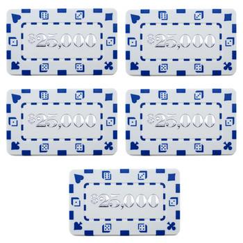 5 Denominated Poker Plaques White $25,000