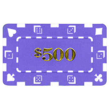 5 Denominated Poker Plaques Purple $500