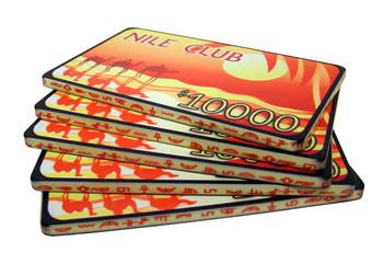 $10,000 Nile Club 40 Gram Ceramic Poker Plaques, 10-pack