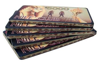 5 $5000 Nile Club 40 Gram Ceramic Poker Plaques