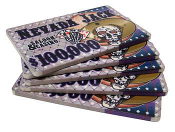 5 $100,000 Nevada Jack 40 Gram Ceramic Poker Plaques