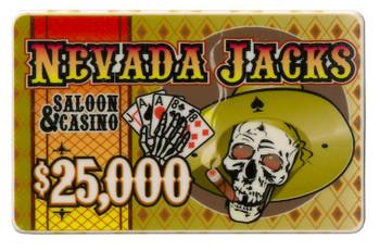 5 $25,000 Nevada Jack 40 Gram Ceramic Poker Plaques
