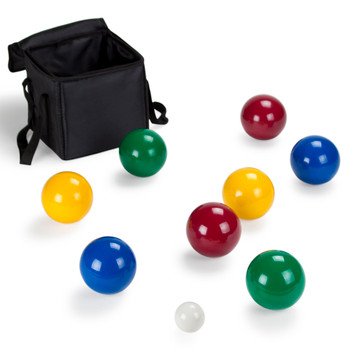 Deluxe 4-Player Resin Bocce Ball Set w Carrying Case, 90mm