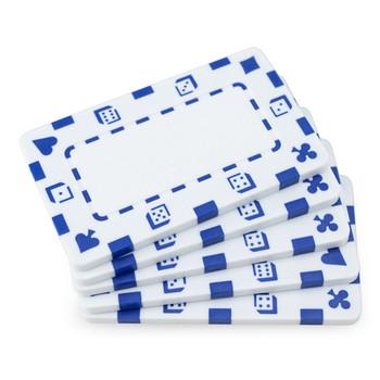 5 White Rectangular Poker Chips