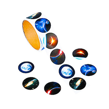 Roll of 100 perforated shark stickers featuring realistic photos of a solar eclipse (x2), the moon, a nebula, and a galaxy