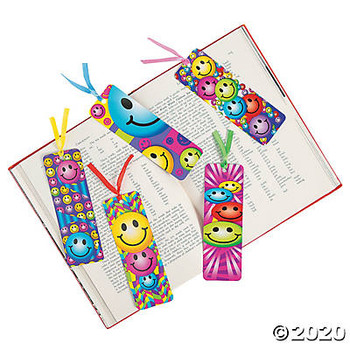 Laminated Smile Face Emoji Bookmarks (Pack of 48)