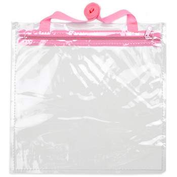 12' x 12' Clear Hand Bag with Pink Shoulder Strap