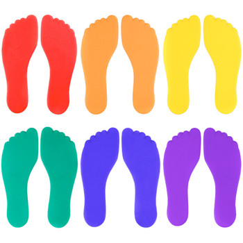 Set of Six Colorful Foot-Shaped Floor Markers