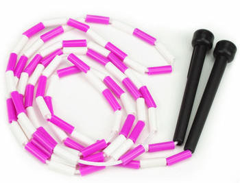 Pink and White 7-foot jump rope with plastic segmentation