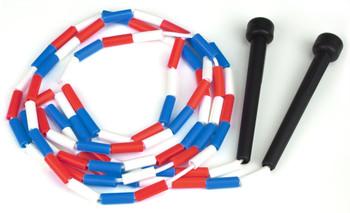 Red, white & blue 7 ft jump rope w/plastic segmentation