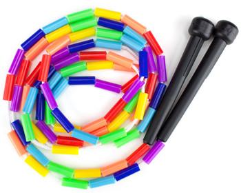 Rainbow 7-foot jump rope with plastic beaded segmentation