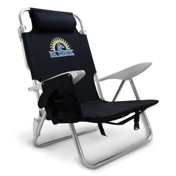 4-Position Folding Beach Chair, Black