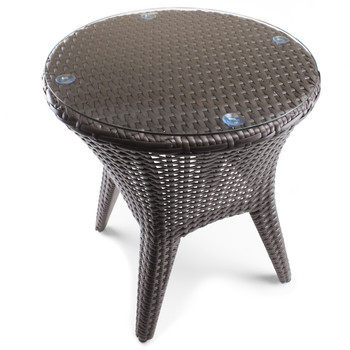 "18"" Resin Wicker Patio Accent Table"