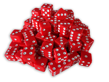 1000 Count - 16mm Red Dice w/ White Pips