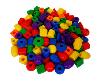 Assorted Plastic Jumbo Beads with Lacing Strings
