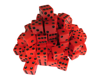 1000 Count - 16mm Red Dice w/ Black Pips