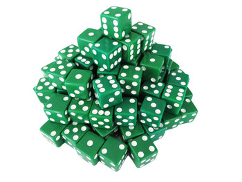 1000 Count - 16mm Green Dice w/ White Pips