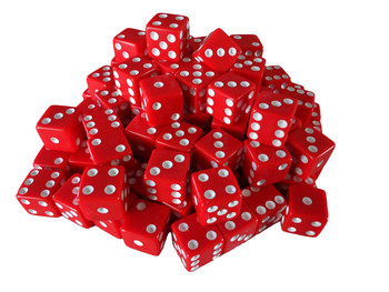 Red 16mm Opaque Game Dice with White Pips