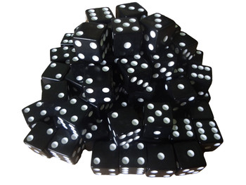 16mm Black Dice w/ White Pips