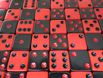 16mm Black and Red Dice Assortment