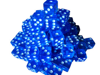 16mm Blue Transparent Dice w/ White Pips