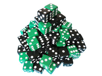 16mm Black and Green Dice Assortment