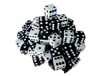 16mm Black and White Dice Assortment