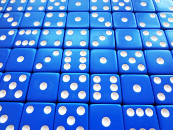 1000 Count - 16mm Blue Dice w/ White Pips