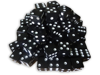 1000 Count - 16mm Black Dice w/ White Pips
