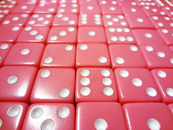 1000 Count - 16mm Pink Dice w/ White Pips