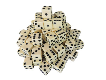 1000 Count - 16mm Ivory Dice w/ Black Pips