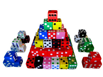 1000 Count - 16mm Assorted Dice (10 Colors)