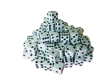 8mm White Dice w/ Black Pips