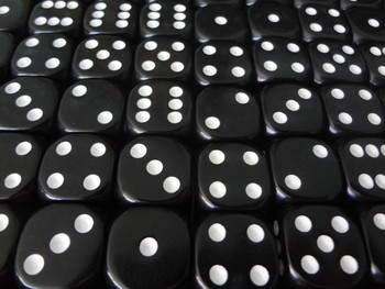 16mm Black Round Corner Dice w/ White Pips
