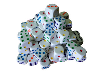 16mm White Round Corner Dice w/ Colored Pips