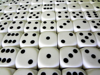 16mm White Round Corner Dice w/ Black Pips