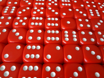 16mm Red Round Corner Dice w/ White Pips