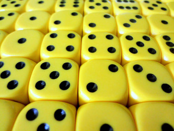 16mm Yellow Round Corner Dice w/ Black Pips