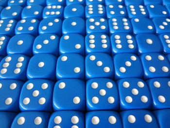 16mm Blue Round Corner Dice w/ White Pips