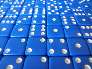 12mm Blue Dice w/ White Pips