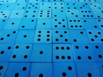 16mm Blue Foam Dice w/ Black Pips
