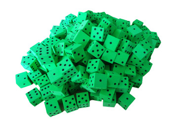16mm Green Foam Dice w/ Black Pips