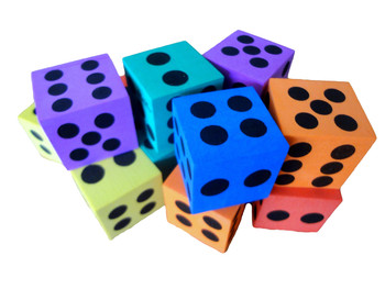 "1.5"" Assorted Foam Jumbo Dice w/ Black Pips"