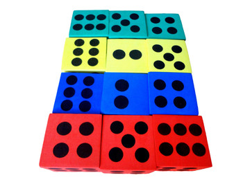 "2.5"" Assorted Foam Jumbo Dice w/ Black Pips"