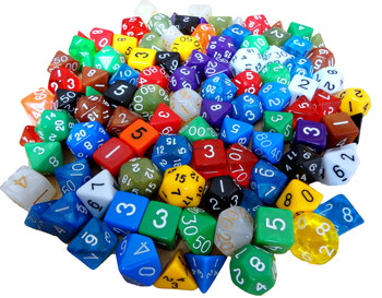 Assorted Polyhedral Dice w/ Dragon Pouch