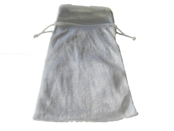 Velvet Drawstring Pouch in White