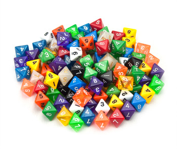 100+ Pack of Random D8 Polyhedral Dice in Multiple Colors