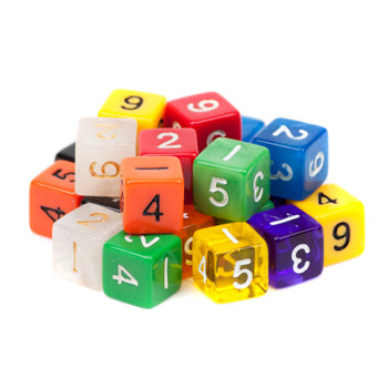25 Pack of Random D6 Polyhedral Dice in Multiple Colors